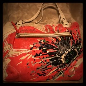 COACH Poppy Flower Canvas Glam Tote - RARE